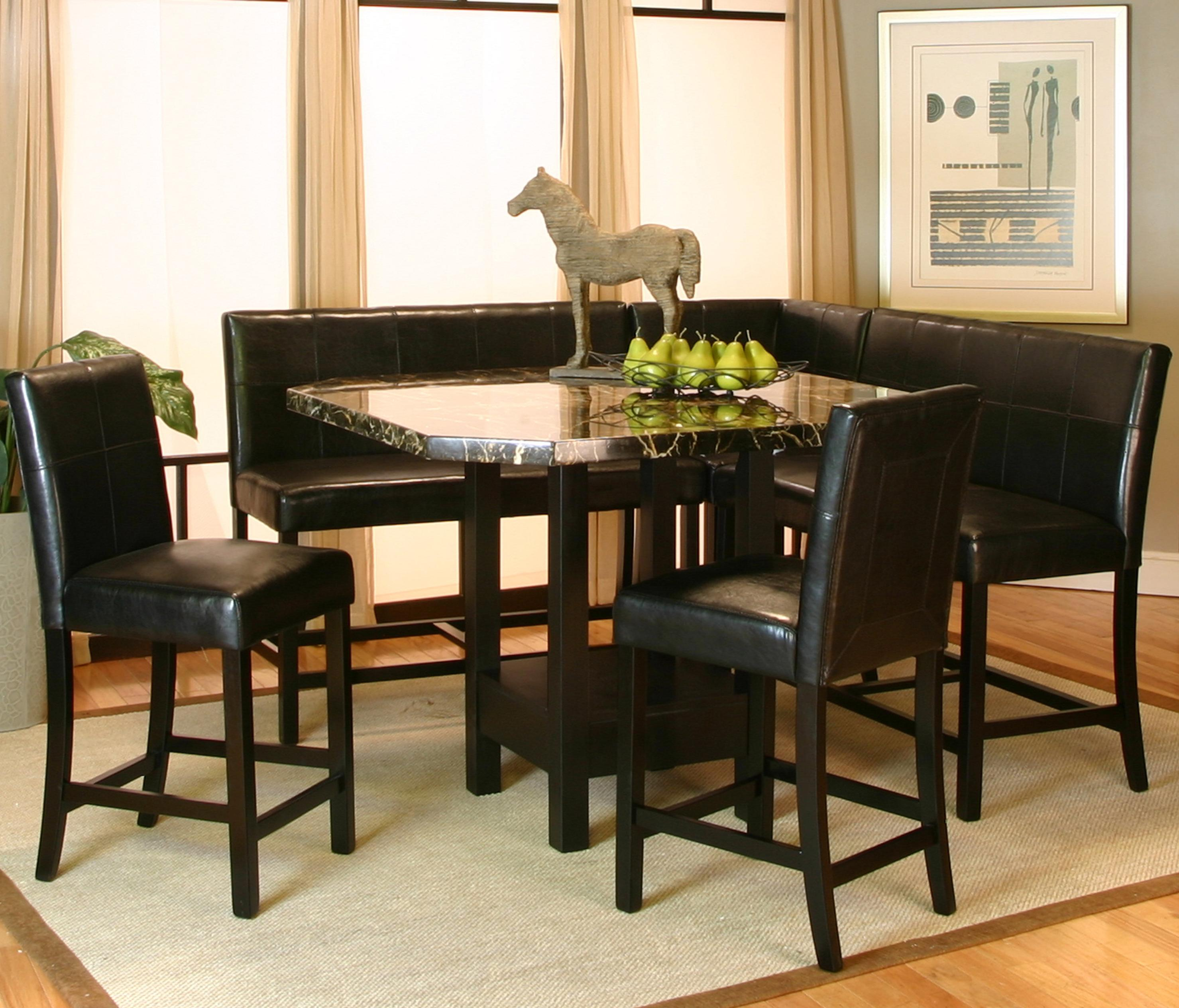 Chatham 6pc.pub Table W/Faux Marble Top Includes  1 Corner Bench  2 Benches   2 Counter Height Chairs  1 Faux Marble Top Counter Height Table (48x48x36)